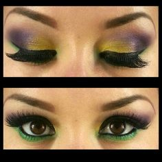 How is ready for a Mardigras make up. COLOR: yellow from SEPHORA Nº05. Purple from MAC FIG.1 A22 Green pencil from MAC and green eyeshadow from SEPHORA Nº07. Eyeliner from L.A Girl and Mascara from MAC. #playwhitcolor #mardigras #sephora #mac #deisymakeupartist #makeup #Miami #sfl