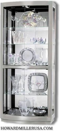 680396 Howard Miller Nickel finish contemporary Curio Display Cabinet Bradington