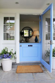Front Door Paint Colors - Want a quick makeover? Paint your front door a different color. Here a pretty front door color ideas to improve your home's curb appeal and add more style! Half Doors, Windows And Doors, Door Design, House Design, Front Door Colors, Front Doors, Front Door With Screen, Exterior Doors, Dutch Door Exterior