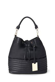 Black Ribbed Faux Leather Backpack Bucket Handbag | FOREVER 21 - 1000119308 $30 LOVE