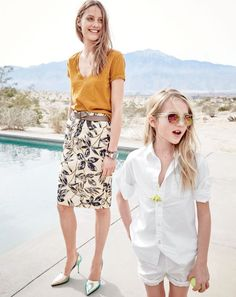 MAY '15 Style Guide: J.Crew women's vintage cotton V-neck tee in golden brandy, gold foil leaf pencil skirt, distressed leather belt and mixed stone wooden cuff bracelet.
