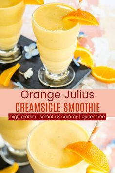 Orange Creamsicle Smoothie Recipe - with the smooth and creamy combo of orange and vanilla it taste just like a healthy Orange Julius or a creamsicle ice pop. You'll love the bright fresh flavors in this breakfast snack or even dessert! Orange Creamsicle Smoothie Recipe, Orange Juice Smoothie, Ice Cream Smoothie, Smoothie Recipes With Yogurt, Yogurt Smoothies, Healthy Smoothies, Orange Recipes, Fruit Recipes, Drink Recipes