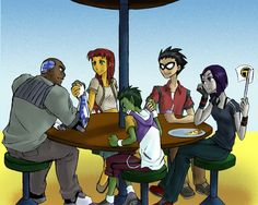 Teen Titans. Cyborg, Starfire, Beast Boy, Robin, and Raven hanging out.