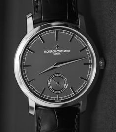 Vacheron Constantin Patrimony Traditionnelle Small Seconds Grey Watch Hands-On Elegant Watches, Stylish Watches, Luxury Watches For Men, Beautiful Watches, Cool Watches, Rolex Watches, Grey Watch, Father Time, Vacheron Constantin
