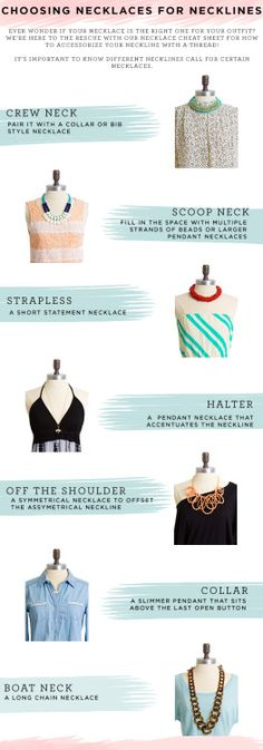 Different type of necklaces best fit with certain necklines of different outfit. Choosing the right necklaces for necklines