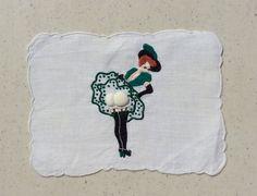 Vintage Applique Textile Sexy Lady Reveals Her by unclebunkstrunk