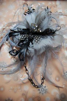 Great Christmas Gift Bluish Gray Feather fascinator ,broach, Head piece