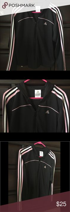 Adidas Black Workout Yoga Athletic Hooded Jacket Adidas - Yoga, Workout, Athletic, Jacket.  Neo Emblem Classic Firebird Jacket.  Original 3 three Stripe Design Down each Arm. Hooded Hoodie Zip Up Jacket.  Ladies / Women's - Size Medium M Colors - Black, White & Light Baby Pink Great Condition! Very Gently Worn. No Flaws. Like New.   Please FOLLOW ME & check out the other items in my closet. BUNDLE & SAVE!! I offer a discount when items are bundled & you only pay shipping one time!! Thank you…