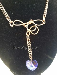 Purple Swarovski heart pendant