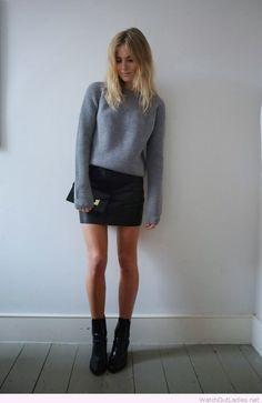 Grey sweater, leather mini, black booties
