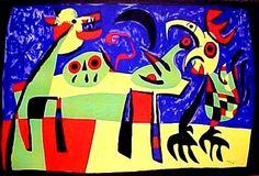 ミロ (サイン無) 月の吠える犬