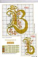 Gallery.ru / Фото #1 - Monogrammy - Vlada65 Cross Stitch Alphabet, Cross Stitch Charts, Symbols, Letters, Embroidery, Snails, Crossstitch, Bella, Flower