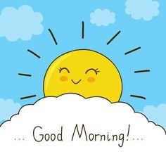 Illustration of Happy sun wishes you good morning vector art, clipart and stock vectors. Good Morning Music, Good Morning Coffee, Good Morning Good Night, Good Morning Images, Sunday Morning Wishes, Good Morning Greetings, Good Day Quotes, Good Morning Quotes, Baby Elephant Drawing