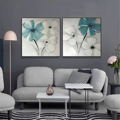 2 pieces gold acrylic flower Abstract painting canvas wall art pictures for living room wall decor bedroom home original blue gold art decor Art Bleu, Art Mur, Photo D Art, Decoration Originale, Coastal Wall Art, Wall Art Pictures, Pictures For Home, Room Wall Decor, Wall Art Sets