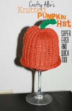 Knifty Knitter loom made pumpkin hat