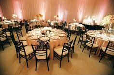 Stunning look for this fab soft pink #uplighting wedding. Nice photo via #WeddingBee
