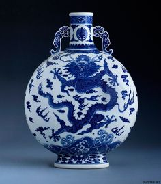 """A Rare Blue And White """"Dragon"""" Moonflask Blue And White China, Blue China, Ceramic Pottery, Ceramic Art, Dragons, Blue Pigment, White Dragon, Chinese Ceramics, Chinese Antiques"""