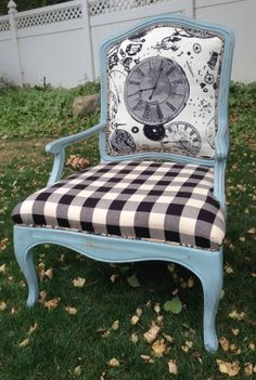 Vintage Chair reFabulously reDone, painted Duckegg Blue and distressed.  Lovely black check, Aged Time, Paris - themed designer fabrics