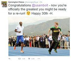 Prince Harry's cheeky message to Usain Bolt has swept the web...
