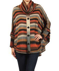Another great find on #zulily! Orange & Black Button Cowl Neck Dolman Poncho #zulilyfinds