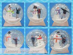 Plastic plate snowglobes.  Snow paint: equal parts glue & shaving cream