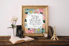 Bible verse wall art for a girls room, Nursery bible verses, Floral print decor, Bible verse art, Scripture art print, Psalm 45:11  BD-821
