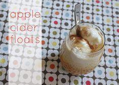 Apple cider floats - warm apple cider with vanilla ice cream, caramel sauce, and nutmeg