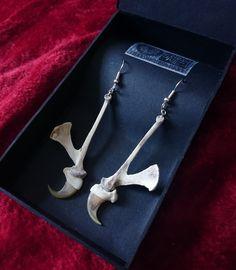 real bone ear pendant earring jewelry on www.etsy.com/uk/shop/chrisrichfordart