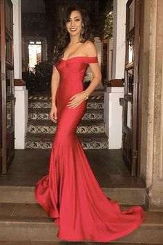 formal evening dress, off the shoulder mermaid red long prom dress with train, wedding reception dress