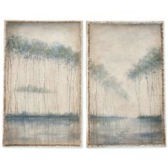 Escape into the serenity of this beautiful artwork, featuring trees with reflections on the water, hand-painted directly on fabric with fringed edges. Mounted on solid mahogany wood panels finished in antique white. Shop Coastal Cottage wall art now.