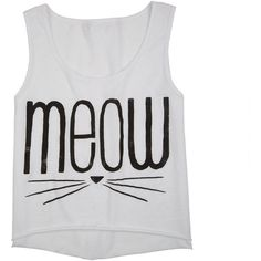 Meow Whiskers Tank ($20) ❤ liked on Polyvore featuring tops, shirts, tank tops, tanks, graphic tee, graphic tank tops, graphic design shirts, graphic tanks, fray shirts and graphic tops
