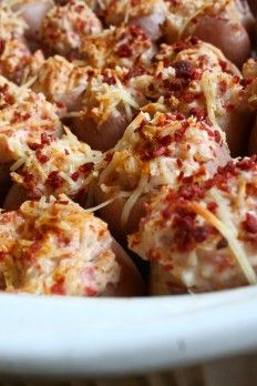 Stuffed Red Potatoes.  These would be a great potluck dish.  I'll bet you could put them in the crockpot to keep them warm.