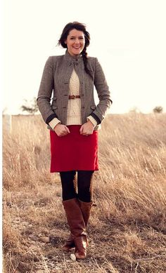 I have the red skirt and brown boots, but I hate real blazers. Knit striped one perhaps, or peter-pan collared sweater?