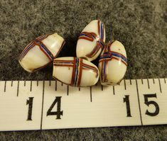 French Cross Fur Trade Beads 150 Years Old French Flag Colors 4