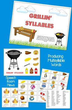 Speech Room News: Grillin' Syllables {with giveaway} Articulation of multisyllable words game.