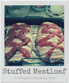Cheese stuffed meatloaf with bacon recipe