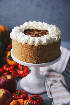 No-Bake Checkerboard Pumpkin Cheesecake Amaretto Cheesecake, Pumpkin Cheesecake, No Bake Desserts, Just Desserts, Fall Baking, Sweet Tooth, Sweet Treats, Thanksgiving, Holiday