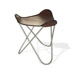WEINBAUMS Ottoman Für Hardoy Butterfly Chair Leder Kaffeebraun #Ottoman  #Hocker #Leder #MadeinLeipzig