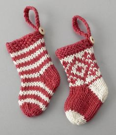 mini socks for Christmas tree. Free knitted pattern from littlecottonrabbits