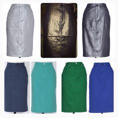 Colored denim / jean skirts Shannasthreads.com