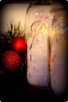 easy mason jar christmas decoration...use fake snowflakes or epsome salt and a led candle