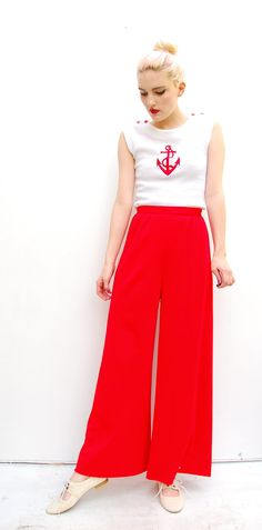 60s High Waisted Nautical Trousers $42.00, via PomPom Clothing on Etsy.
