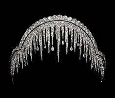 Artemisia's Royal Jewels: The Chaumet Ice Frost (Stalactite) Tiara. The tiara was created in 1904 by Chaumet for Louis Cesar, Marquis de Lubersac, as a wedding present for his daughter-in-law. Royal Crowns, Royal Tiaras, Tiaras And Crowns, Royal Crown Jewels, Antique Jewelry, Vintage Jewelry, Vintage Hair, Chaumet, Royal Jewelry