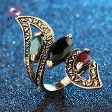 Mode 2016 Vintage Grote Ring Antieke Vergulde Mozaïek Kleurrijke Hars ringen Voor Vrouwen Maat 6 7 8 9 10 Turkse Sieraden(China…