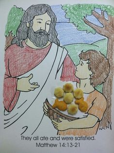 Bible Story Jesus Feeds Five Thousand I Love This Quick Coloring Page Use Oyster Crackers For The Loaves And Goldfish Fish