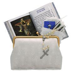 First Communion Satin Brocade Deluxe Purse Set, $46.95