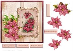 Vintage poinsettias 7x7 card with decoupage on Craftsuprint designed by Angela Wake - Vintage poinsettias 7x7 card with decoupage and sentiment tags - Now available for download!