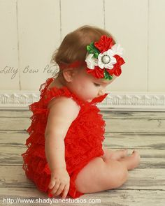 Christmas Red Lace Petti Romper SET Matching Cluster Flower Headband-Baby Girl Clothes-Newborn-Infant-Preemie-Child-Toddler-Outfit-Holiday on Etsy, $24.95