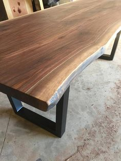 Small live edge table. Book matched top. Kiln dried black walnut. Powder coated legs. This piece is complete and available for immediate sale. Shipping is included! Custom pieces available upon request! Follow me on Instagram; @dogandpigfurniture -Kristopher 925.818.6280 Metal Base Dining Table, Walnut Dining Table, Teak Table, Wooden Tables, Dining Room Table, Raw Wood Furniture, Live Edge Furniture, Live Edge Table, Coffe Table