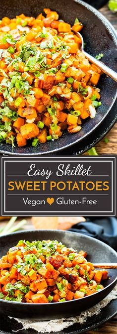 Easy skillet sweet potatoes make a quick side dish for any meal! This simple sw… Easy skillet sweet potatoes make a quick side dish for any meal! This simple sweet potato recipe is gluten-free, vegetarian, dairy-free, paleo and vegan. Healthy Recipes, Dairy Free Recipes, Veggie Recipes, Whole Food Recipes, Cooking Recipes, Simple Recipes, Quick Recipes, Recipes Dinner, Cilantro Recipes